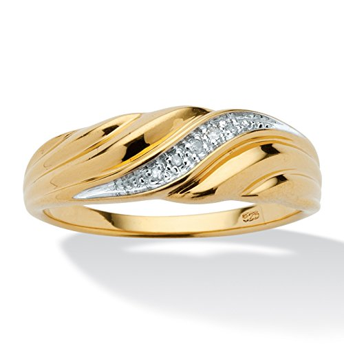 Men's Diamond Accent 18k Gold over .925 Sterling Silver Swirled Ring (Swirled Accents)