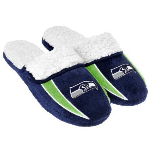 2013 NFL Football Mens Team Logo Sherpa Slippers (Seattle Seahawks, Large 11-12)