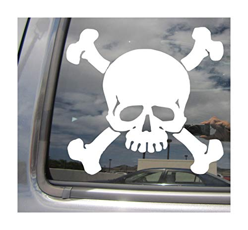 Right Now Decals Skull and Bones - Poison Danger Pirate - Cars Trucks Moped Helmet Hard Hat Auto Automotive Craft Laptop Vinyl Decal Store Window Wall Sticker 10126