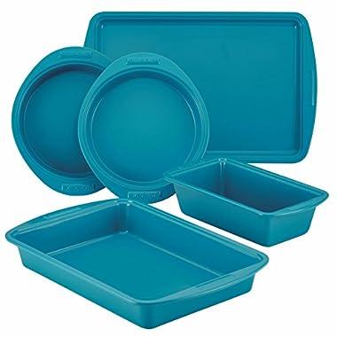 SilverStone Hybrid Ceramic Nonstick Bakeware, Steel Baking Pan Set, 5-Piece, Marine Blue
