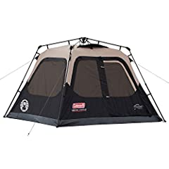 The Coleman 4-Person Instant Cabin Tent makes setting up camp quicker and easier than ever. This instant tent has preattached poles that make setting up camp as simple as unfolding, extending, and securing. Assemble the tent in about a minute...