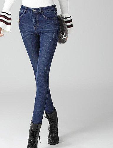 TT&NIUZAIKU Damen Einfach Mittlere Hüfthöhe Mikro-elastisch Eng Hose, Polyester Herbst Solide, Blau, 30