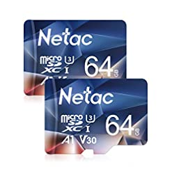 Netac 64GB Micro SD Memory Card 2 Packs, MicroSDHC Card UHS-I 100/30MB/s(R/W), 667X, C10, U3, A1, V30, 4K, TF Card for Camera, Smartphone, Security System, Drone, Dash Cam, Gopro, Tablet, DSLRs