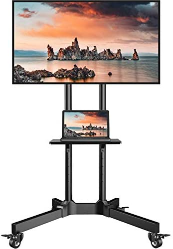 Mobile TV Cart with Wheels for 32-75 Inch LCD LED 4K Flat Curved Screen TVs- Height Adjustable Rolling TV Stand Hold Up to 132 lbs- Trolley Floor Stand with Tray Max VESA 600x400mm, PSTVMC01