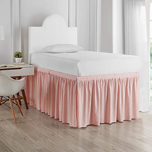 DormCo Bed Skirt Twin XL (3 Panel Set) - Rose Quartz