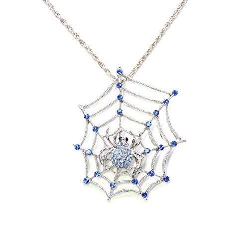 Faship Spider Web Necklace Pendant Blue Rhinestone Crystal (Spiderweb Rhinestone Necklace)