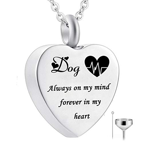 (HQ Heart Urn Necklace for Ashes Always on My Mind Forever in My Heart Cremation Jewelry Memorial Ashes Keepsake Pendant Birthstone Jewelry (Dog) )