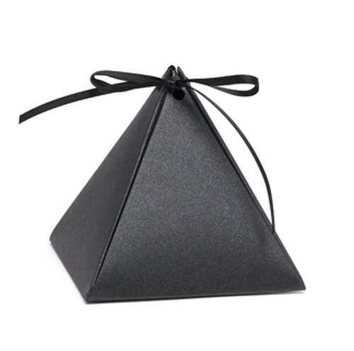 Hortense B. Hewitt 54882 Pyramid Favor Boxes, 3-Inch, Black - Box Pyramid