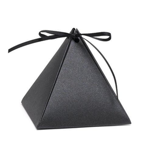 Hortense B. Hewitt 54882 Pyramid Favor Boxes, 3-Inch, Black Shimmer