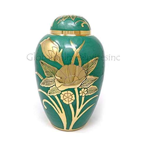 Green Dome Tops - Big Dome Top Green Floral Adult Memorial Urn, Human Cremation Urns for Ashes