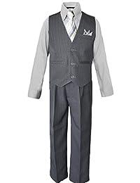 Boys Pinstripe Dress Suit, with Vest, Shirt, Tie and Pants Set