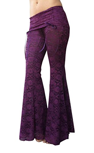 UUYUK Womens Hippie Yoga Dance Stretchy Side Slit Bell Bottom Pants Purple US M