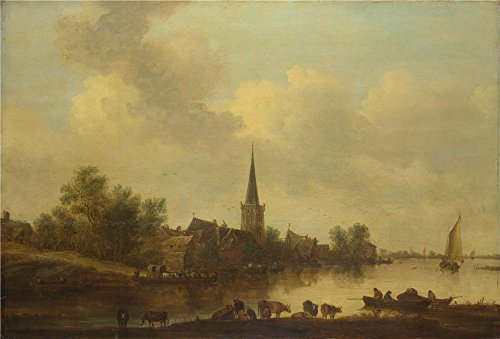 [The High Quality Polyster Canvas Of Oil Painting 'Jan Van Goyen A River Landscape ' ,size: 10 X 15 Inch / 25 X 37 Cm ,this High Quality Art Decorative Prints On Canvas Is Fit For Powder Room Decor And Home Decor And] (German Officer Hat Costume)