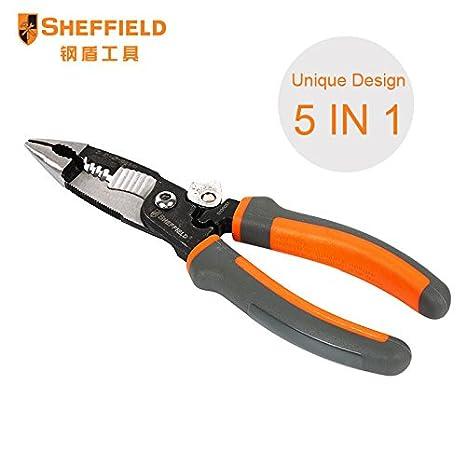 SHEFFIELD 8 pulgadas 5 en 1 multifuncional electricista aguja alicates de punta alambre, cortador, alicates de crimpado: Amazon.es: Bricolaje y herramientas