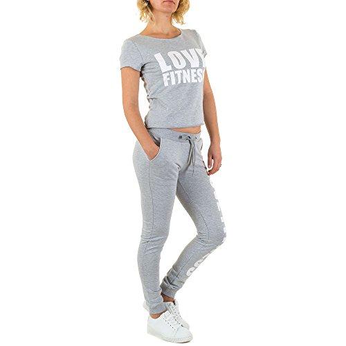 Freizeit Fitness Zweiteiler Overall Für Damen , Grau In Gr. S bei Ital-Design