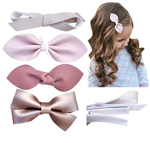 - California Tot Premium Faux Leather Bow Hair Clips for Toddler, Girls, Mixed Set of 4 (Nana Clip Set of 4)