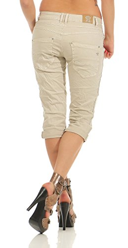 Chino 043 Femmes Jeans 3 Bermuda Pantalon pour Beige Baggy Capri Rayures 4 Karostar PqRxtwd4P
