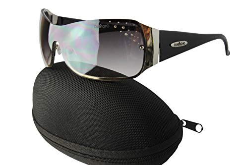 (D08-cc Diamond Eyewear Shield Rimless Sunglasses (i153 Silver/Black, uv400))