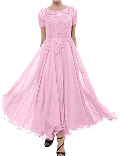 Tea Length Mother of The Bride Dress Short Sleeve Formal Evening Gowns Pink 16W