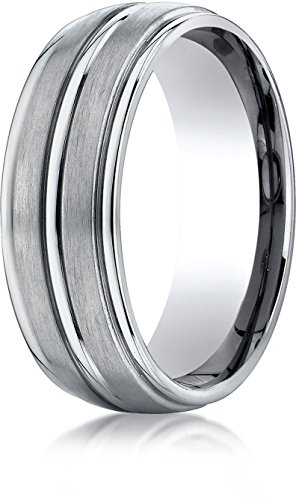 Benchmark Titanium 8 mm Comfort-Fit Satin-Finished Round Edge Design Wedding Band Ring, Size 14