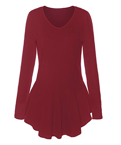 ReliBeauty Womens V-Neck Long Sleeve Peplum Tops, Warm Red, 8-10