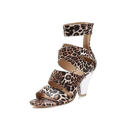 MACKIN J 502-2 Women's Open Toe Multi Straps Chunky Heeled Party Pump Cone Clear Heel Dress Snalds(8.5, Leopard) (Pump Heel Cone)
