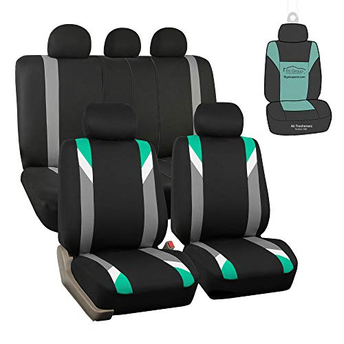 FH Group FB033115 Premium Modernistic Seat Covers Airbag & Split Ready,Mint/Black with Gift - Fit Most Car, Truck, SUV, or Van