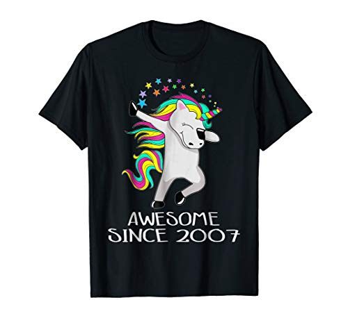 Kid 11 Yrs Old 11th Birthday Unicorn Shirt Gift 2007 Dabbing