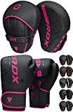 RDX Boxing Pads and Gloves Set, Maya Hide Leather Kara Hook and Jab Curved Focus Mitts with Punching Gloves for MMA, Muay Thai, Kickboxing Coaching, Martial Arts, Punching Hand Target Strike Shield
