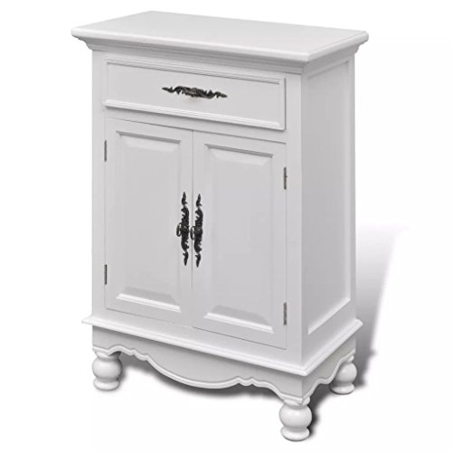 vidaXL Pine Wood Floor Cabinet/Cupboard with 2 Doors 1 Drawer Bathroom Kitchen Storage by vidaXL