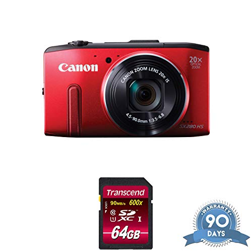 Canon PowerShot SX280 HS Digital Camera (Red) with Memory Card - (Renewed) (Camera Digital Hs Canon Sx280)