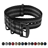Archer Watch Straps | Seat Belt Weaved Nylon Premium Quality NATO Straps | Heavy Duty Military Style Replacement Watch Band (Black/Gray, Matte Black, 18mm)