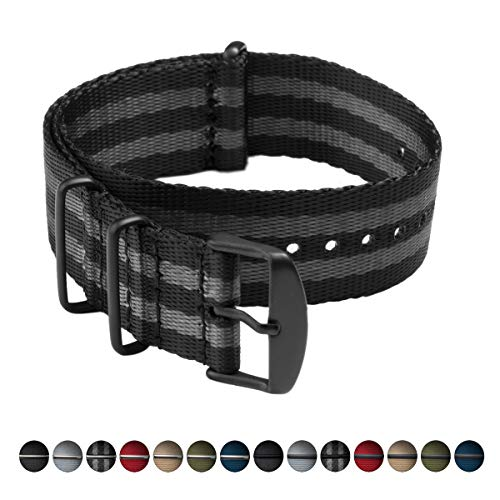 - Archer Watch Straps | Seat Belt Weaved Nylon Premium Quality NATO Straps | Heavy Duty Military Style Replacement Watch Band (Black/Gray, Matte Black, 22mm)