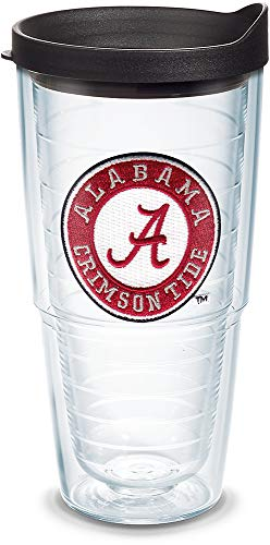 Tervis 1042262 Alabama Crimson Tide Tumbler with Emblem and Black Lid 24oz, Clear