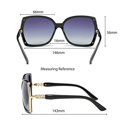 Oversized Polarized Sunglasses for Women Polarized Vintage Luxury Eyewear (Black/Grey) by BAVIRON (Image #6)