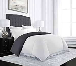 Beckham Hotel Collection Luxury Reversible Duvet Cover Set - Luxurious Soft-Brushed Microfiber, Hypoallergenic and Stain Resistant - Twin/Twin XL - Gray/White