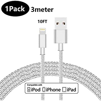 LINKPIN Nylon Braided Lightning Charging Cable for iPhone iPad iPod  Ultra-High Lifespan (10ft, 1-Pack, White)