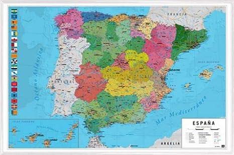 1art1 Mapas Póster con Marco (Plástico) - Mapa España Fisico Politico (91 x 61cm): Amazon.es: Hogar