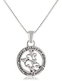 """Sterling Silver """"Sisters Are Different Flowers From The Same Garden"""" Pendant Necklace, 18"""""""