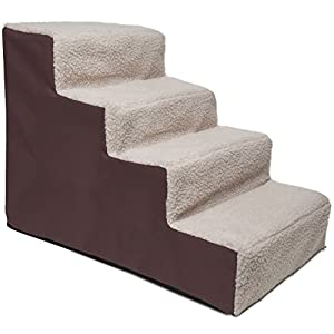 Paws & Pals Dog Stairs to get on High Bed for Cat and Pet Steps at Home or Portable Travel Up to 175 lbs - Brown 110