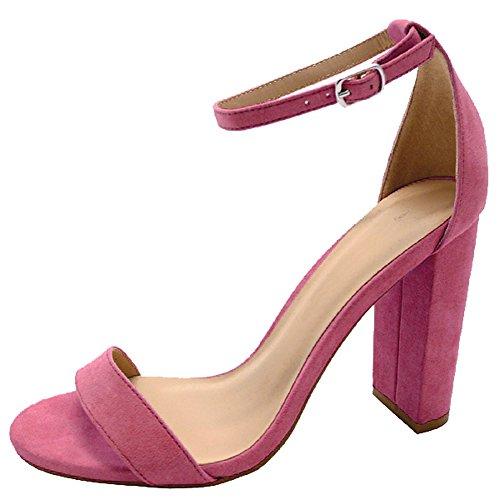 Cambridge Select Womens Open Toe Single Band Buckle Ankle Strappy Chunky Wrapped Block Heel Sandal Fuchsia Imsu 9M4uGN37DF