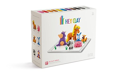 HEY CLAY Animals - Colorful Kids Modeling Air-Dry Clay, 18 Cans with Fun Interactive App