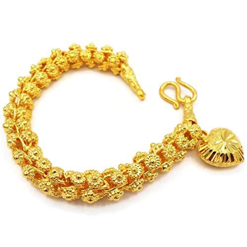 Heart Pikun Flower Lai Thai Gold Plated Bangle 22k 24k Thai Baht Yellow Gold Filled Bracelet Jewelry Women ()