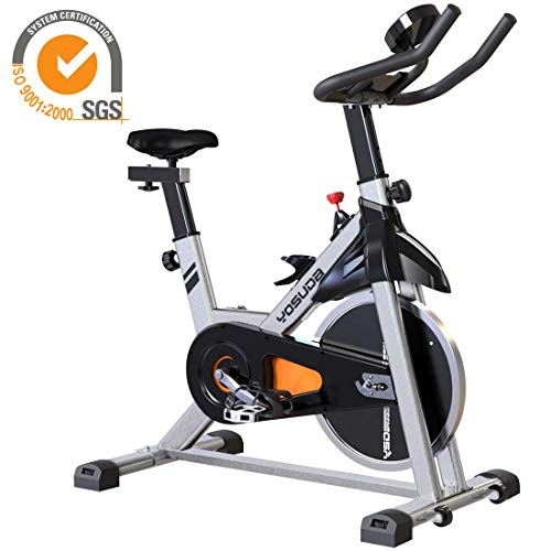 YOSUDA Indoor Cycling Bike Stationary - Cycle Bike with Ipad Mount & Comfortable Seat Cushion (Gray) (Best Upright Stationary Bike 2019)