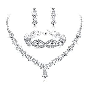 Udalyn Rhinestone Necklace and Earrings Set for Women Bridal Jewelry Set for Wedding with Crystal Bracelet