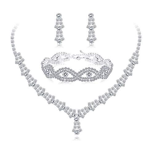 (Udalyn Rhinestone Necklace and Earrings Set for Women Bridal Jewelry Set for Wedding with Crystal Bracelet)