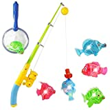 Liberty Imports Magnetic Light Up Fishing Bath Toy Set for Kids | Rod & Reel with Sea Turtle and 5 Unique Fish | Ideal for Kids Age 3, 4, 5, 6 Year Old Boys, Girls