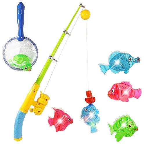 Liberty Imports Magnetic Light Up Fishing Bath Toy Set for Kids - Rod and Reel with Sea Turtle and 5 Unique Fish - Ideal for Kids Age 3, 4, 5, 6 Year Old Boys, Girls]()