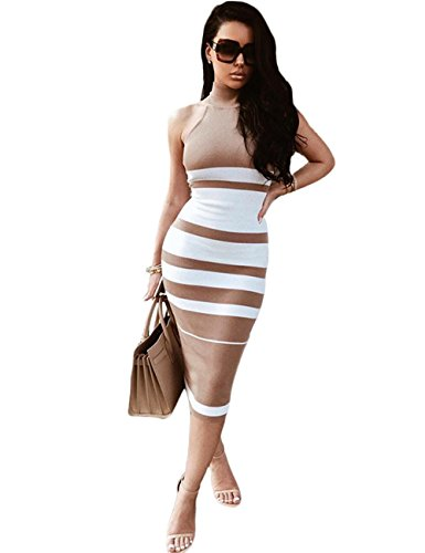 Maketina Womens High Neck Sleeveless Stripe Casual Long Bodycon Bandage Dress Nude S ()