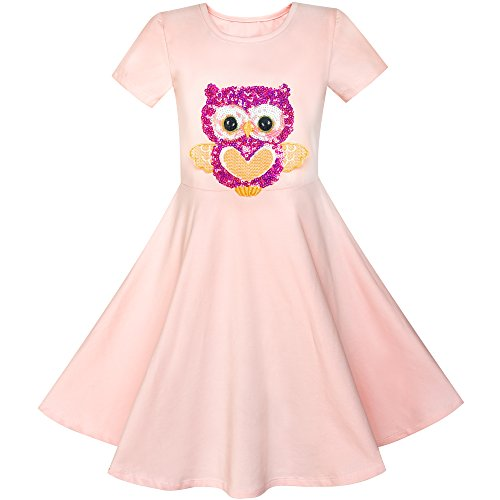 LY22 Girls Dress Misty Rose Owl Sequin Cotton Dress Size 5 ()